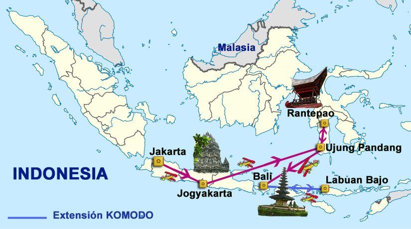 Rutas10 ruta indonesia sulawesi java bali komodo 14 16 das mapa del viaje indonesia sulawesi java bali komodo gumiabroncs Gallery