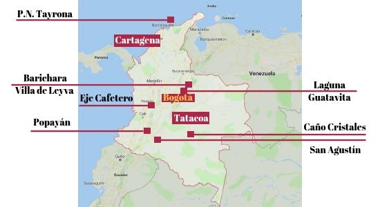 Mapa de los 10 imprescindibles de Colombia