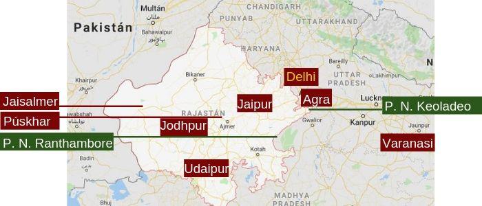 mapa de situación de lo que hay que visitar en Rajastán