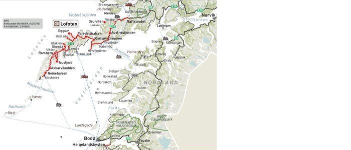 plano de situación para viajar por las islas lofoten